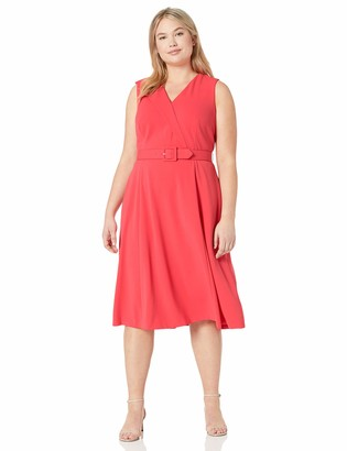 Calvin Klein Women's Size Sleeveless Belted Fit and Flare Dress