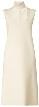 Bottega Veneta Scooped Keyhole-neck Midi Dress - Womens - Ivory