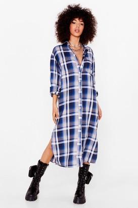 Nasty Gal Womens Background Check Midi Shirt Dress - Blue