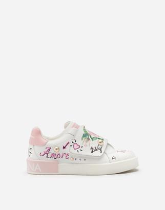 Dolce & Gabbana Portofino Custom Sneakers In Calfskin With Tropical Rose Print