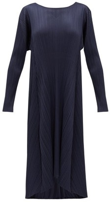 Pleats Please Issey Miyake Drawstring-waist Plisse Midi Dress - Womens - Navy