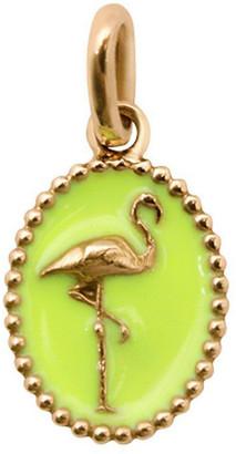 Gigi Clozeau Lime Resin Flamingo Charm - Yellow Gold