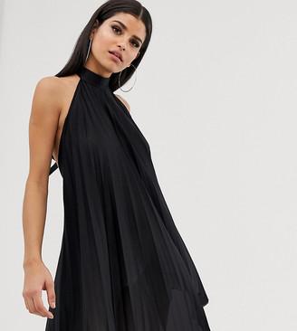 Asos Tall DESIGN tall backless halter pleated mini dress-Black