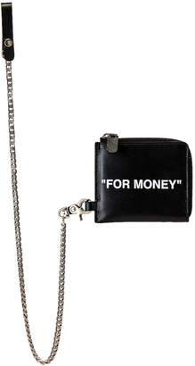 Off-White Off White Quote Chain Wallet in Black & White | FWRD