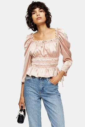 Topshop Womens Nude Satin Ruched Prairie Blouse - Nude