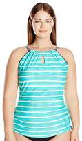 Free Country Women's Plus Size Horizon Melange Keyhole Halter Tankini Top