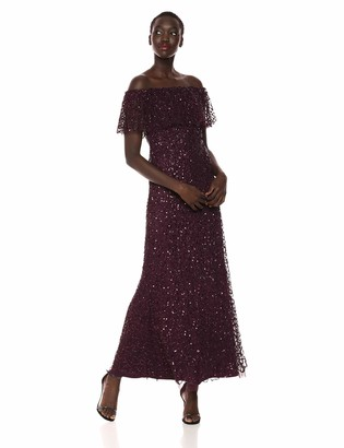 Adrianna Papell Women's Off The Shoulder Long Beaded Dress
