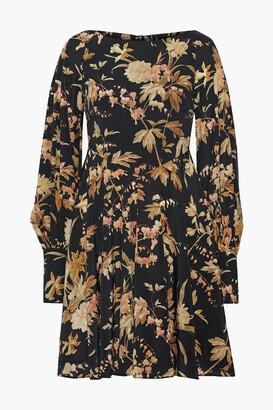 Zimmermann Floral-print Silk-blend Twill Mini Dress