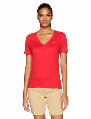 Lacoste Women's Short Sleeve Classic Supple Jersey V-Neck T-Shirt TF8908