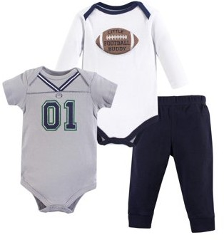 Little Treasures Little Treasure Baby Boy Short and Long Sleeve Bodysuits and Pant 3pc Outfit Set
