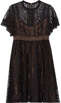 Elie Saab Guipure Lace Mini Dress - Black