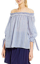 M.S.S.P. Tie Sleeve Off The Shoulder Striped Woven Shirt
