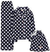Jigsaw Children's Polka Dot Print Pyjamas, Navy