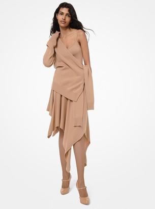 Michael Kors Cashmere Asymmetric Tie-Sleeve Wrap Sweater