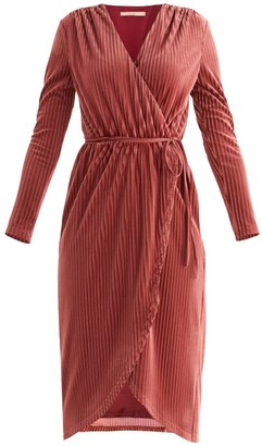 Paisie London Striped Velvet Wrap Dress In Berry