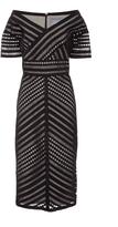 Lela Rose Open V-Neck Fitted Dress