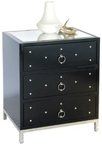The Well Appointed House Worlds Away Studly Nightstand in Black Lacquer