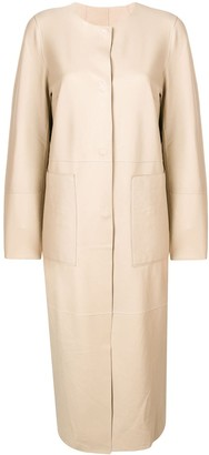 Yves Salomon Round Neck Long Coat