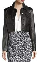 Michael Kors Button-Front Cropped Plongé Leather Jacket