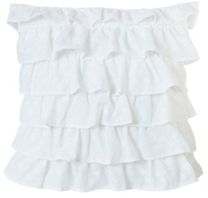 """HiEnd Accents Tiered Ruffled Eyelet 18""""x18"""" Pillow"""