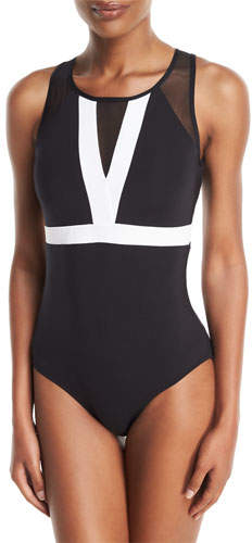 Jets Classique High-Neck Colorblocked Open-Back One-Piece Swimsuit