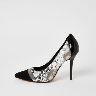 River Island Womens Black snake printed mesh heeled court shoes