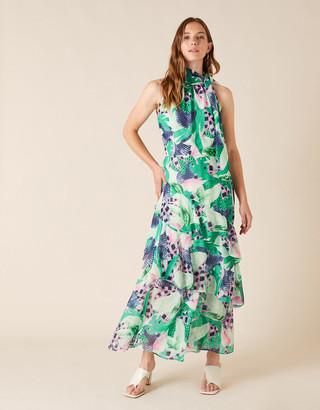 Monsoon Printed Chiffon Maxi Dress Green