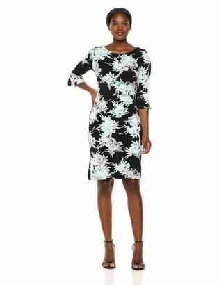 Connected Apparel Women's Ruffle Sleeve Side Tuck Dress