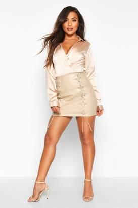 boohoo Petite PU Lace Up Mini Skirt