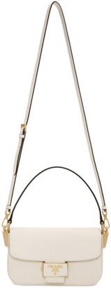 Prada White Saffiano Embleme Bag