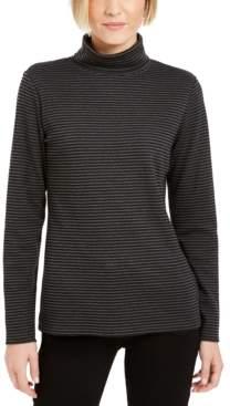 Karen Scott Striped Turtleneck Top, Created For Macy's