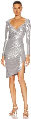 Norma Kamali Long Sleeve Sweetheart Side Drape Dress in Silver | FWRD