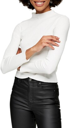 Ribbed Funnel Neck Cotton Top
