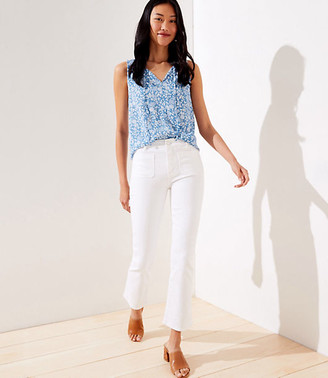 LOFT Petite Patch Pocket High Rise Flare Crop Jeans in White