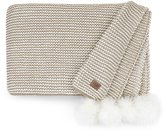 UGG Snow Creek Chunky Knit Throw with Sheepskin Pom Poms