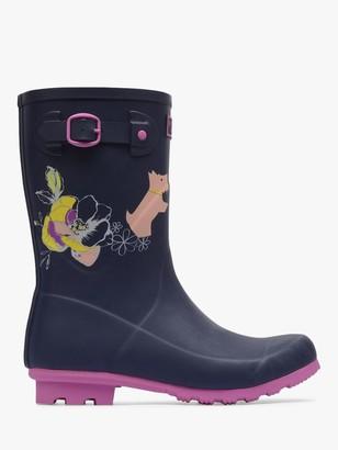 Radley Alba Floral Waterproof Short Wellington Boots, Navy