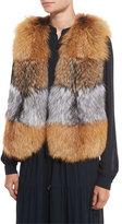 MICHAEL Michael Kors Oversized Layered Fox Fur Vest, Natural