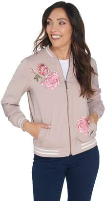 Susan Graver Embroidered Stretch Peachskin Bomber Jacket
