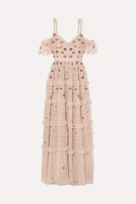 Needle & Thread Celeste Cold-shoulder Embroidered Point D'esprit Tulle Gown - Blush