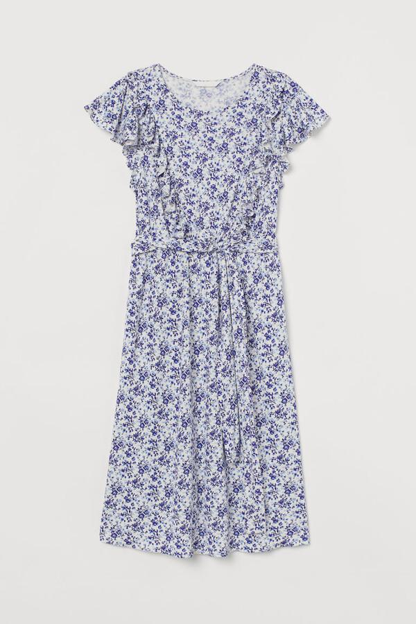 H&M MAMA Ruffle-trimmed Dress - White
