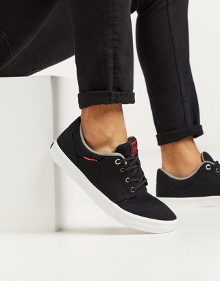 Jack and Jones canvas sneakers with contrast sole in black