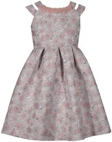 Bonnie Jean Girl's 7-16 Floral Brocade Double Strapped Waistline Dress