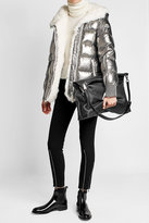 Moncler Metallic Down Jacket with Fur-Trimmed Hood