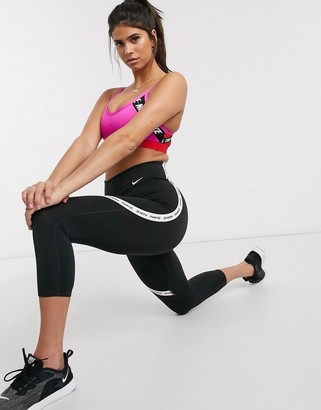 Nike Training one tight cropped legging with logo taping in black