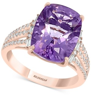 Effy Amethyst (5-5/8 ct. t.w.) & Diamond (1/3 ct. t.w.) Statement Ring in 14k Rose Gold