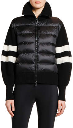 Moncler Puffer-Front & Striped Knit Cardigan