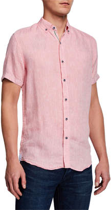 Report Collection Men's Linen Short-Sleeve Sport Shirt