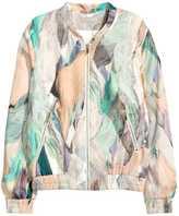 H&M Patterned Bomber Jacket - Black floral - Ladies