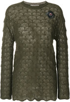 Ermanno Scervino embroidered sheer knit sweater