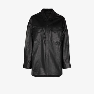 R 13 Oversized Leather Cowboy Shirt